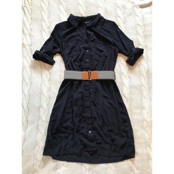 BCX Dresses & Skirts - BCX Navy Blue Button Up Dress with Striped Belt